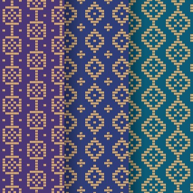 Blaue songket-mustersammlung mit farbverlauf Kostenlosen Vektoren