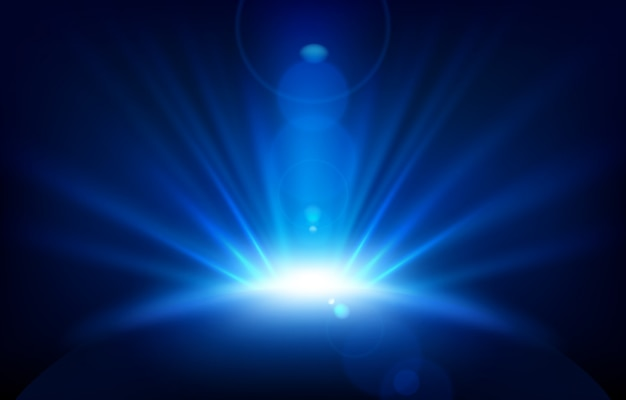 Blaue strahlen mit blendenfleck Premium Vektoren