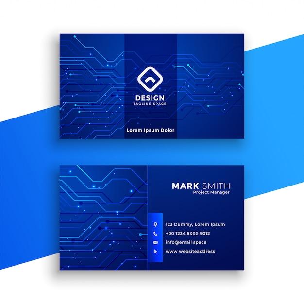 Blaue technologie-art-visitenkarte Kostenlosen Vektoren