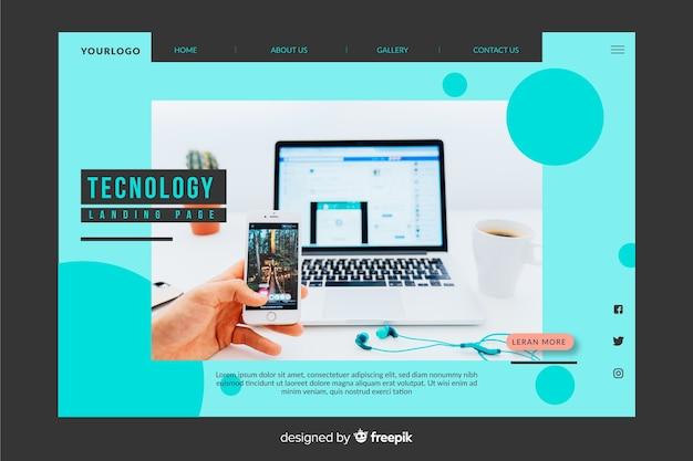 Blaue technologie-landingpage mit foto Kostenlosen Vektoren