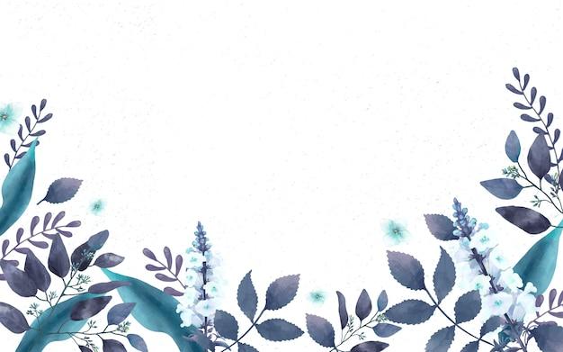 Blaue themenorientierte grußkarte mit miniaturblättern Kostenlosen Vektoren