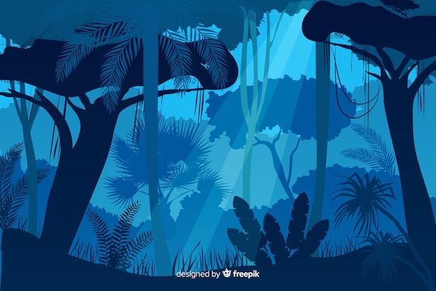 Blaue tropische waldlandschaft Kostenlosen Vektoren