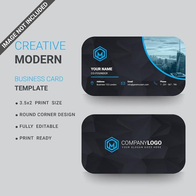 Blaue Und Dunkle Visitenkarte Mit Runden Ecken Premium Vektor