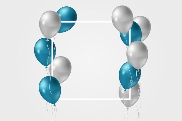 Blaue und graue luftballons im realistischen stil Premium Vektoren