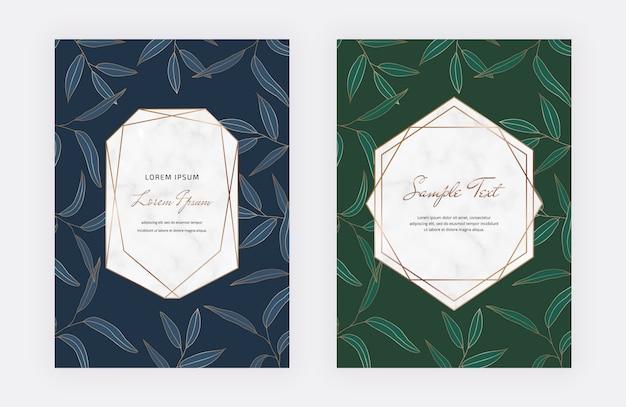 Blaue und grüne karten mit blättern, geometrische weiße marmorrahmen. blaue und grüne karten mit blättern, geometrische weiße marmorrahmen. Premium Vektoren