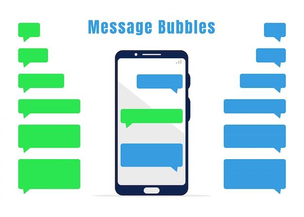 Blaue und grüne messaging-blasensammlung. leere mobile chat-designelemente und weißes mobiltelefon Premium Vektoren