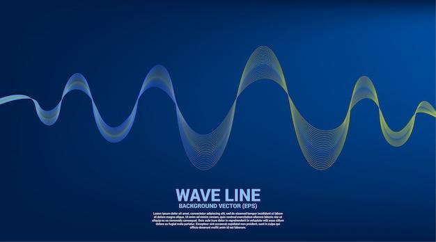 Blaue und grüne schallwelle kurve auf blauem hintergrund. Premium Vektoren