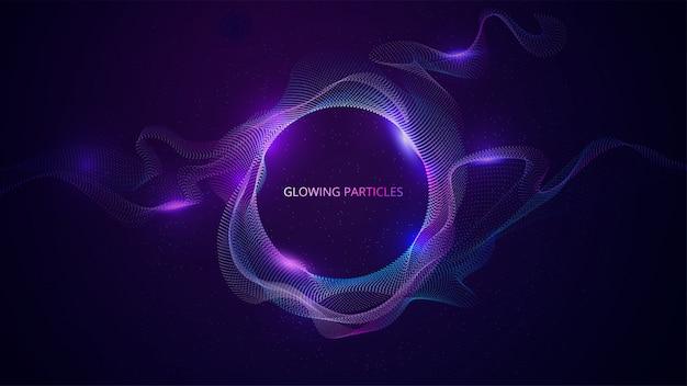 Blaue und lila gewellte partikeloberfläche. abstrakte technologie oder wissenschaft banner. illustration Premium Vektoren