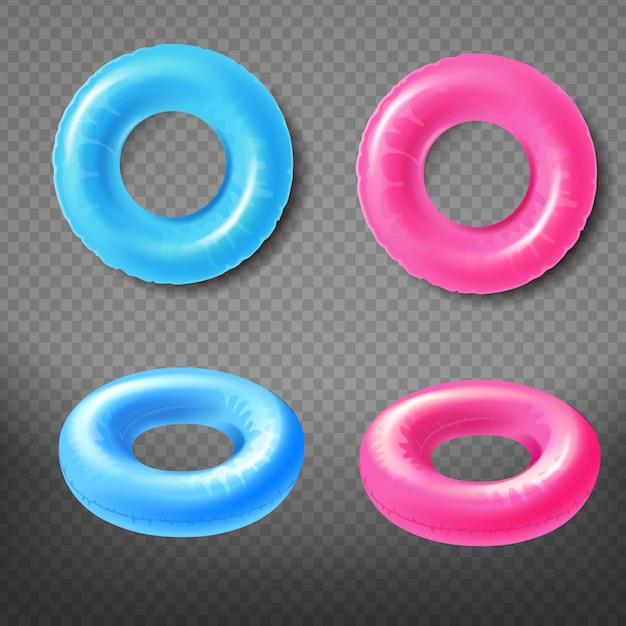 Blaue und rosa aufblasbare ringe übersteigen, realistische vektorikonen der vorderansicht 3d eingestellt lokalisiert Kostenlosen Vektoren
