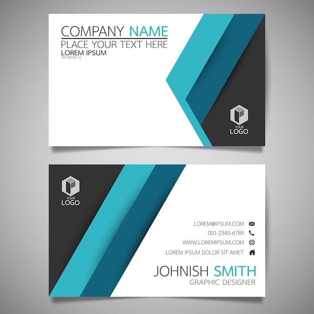 Blaue Und Schwarze Layout Visitenkarte Vorlage Premium Vektor