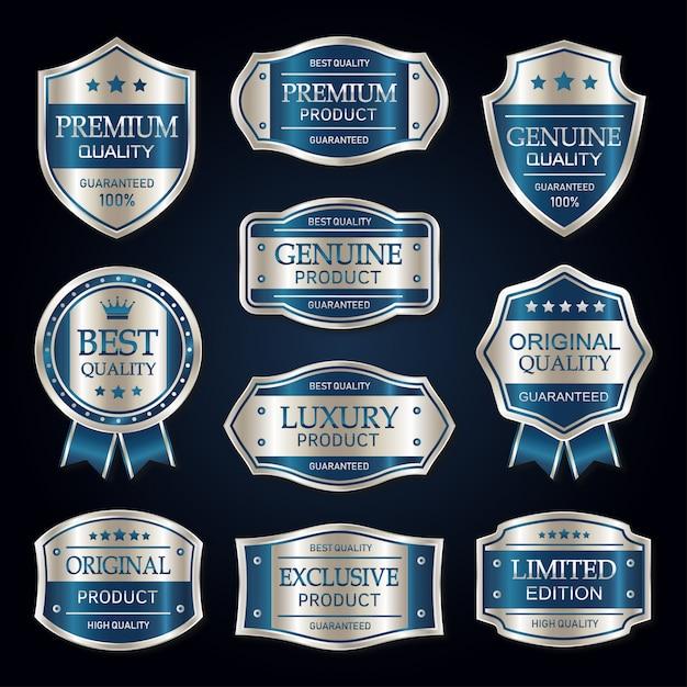 Blaue und silberne erstklassige vintage abzeichen- und aufklebersammlung Premium Vektoren