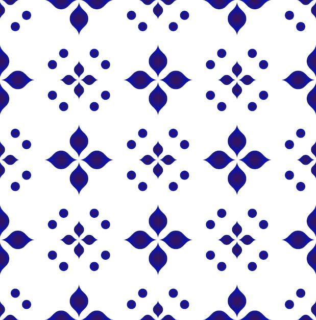 Blaue und weiße blumenmuster Premium Vektoren