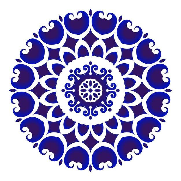 Blaue und weiße blumentöpferei Premium Vektoren
