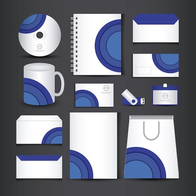 Blaue und weiße briefpapier vorlage Premium Vektoren