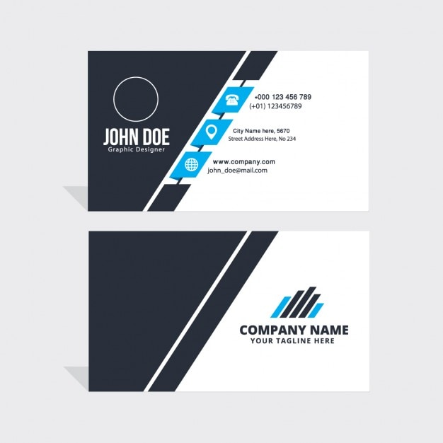 Blaue und weiße Corporate Visitenkarte Kostenlose Vektoren