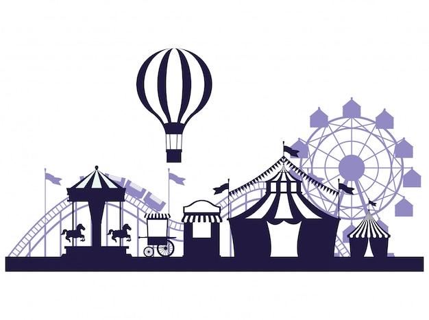 Blaue und weiße farben der angemessenen landschaft des zirkusfestivals Kostenlosen Vektoren