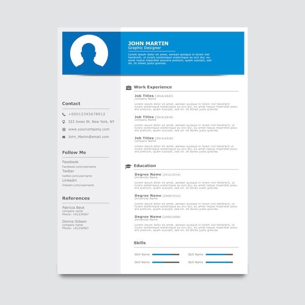 Blaue und weiße Lebenslauf-Vorlage | Download der Premium Vektor