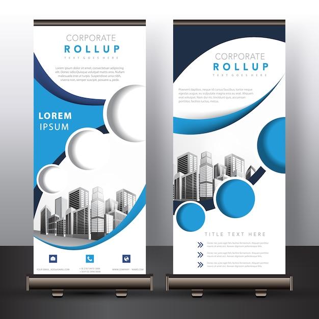 Blaue und weiße roll-up-design Kostenlosen Vektoren