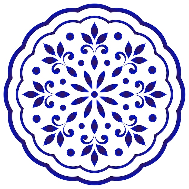 Blaue und weiße runde mit blumenmandala Premium Vektoren