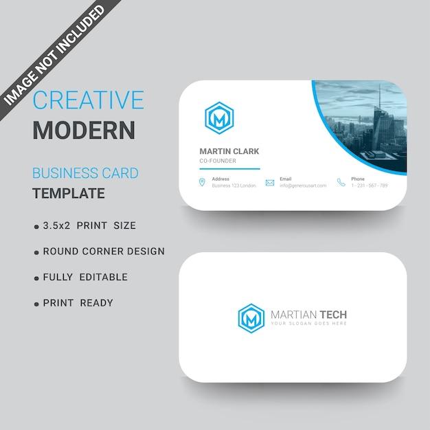 Blaue Und Weiße Visitenkarte Mit Runden Ecken Premium Vektor