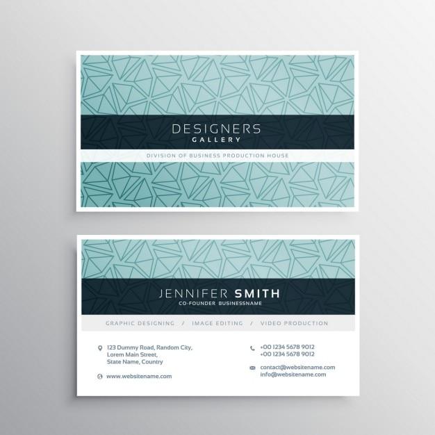 Blaue Visitenkarte Minimale Vorlage Mit Abstrakten Muster