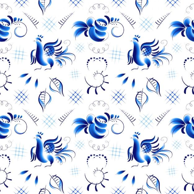 Blaue vögel und rosen im gzhel-stil Premium Vektoren