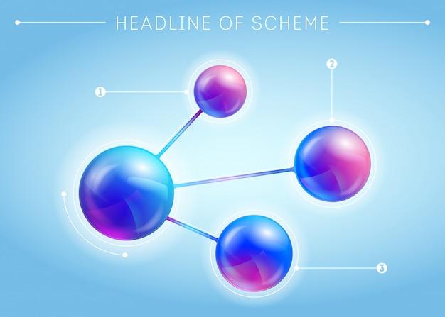 Blaue vorlage einer seite mit 3d-effekt-metabällen Premium Vektoren