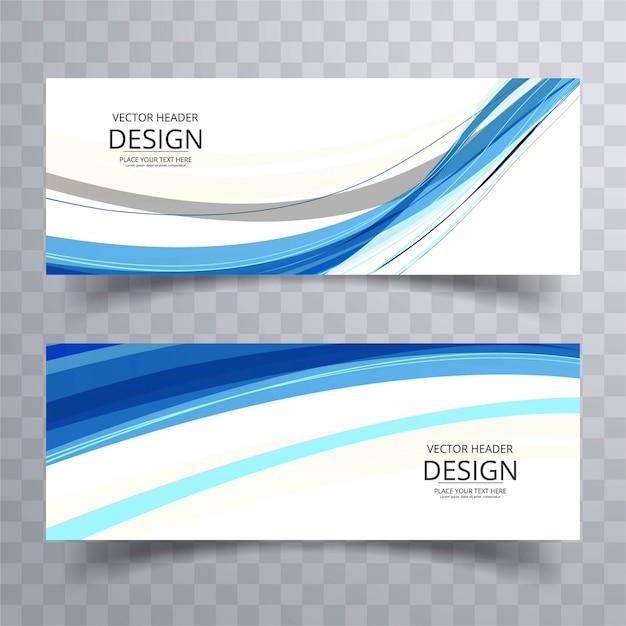 Blaue wellenförmige banner Kostenlosen Vektoren