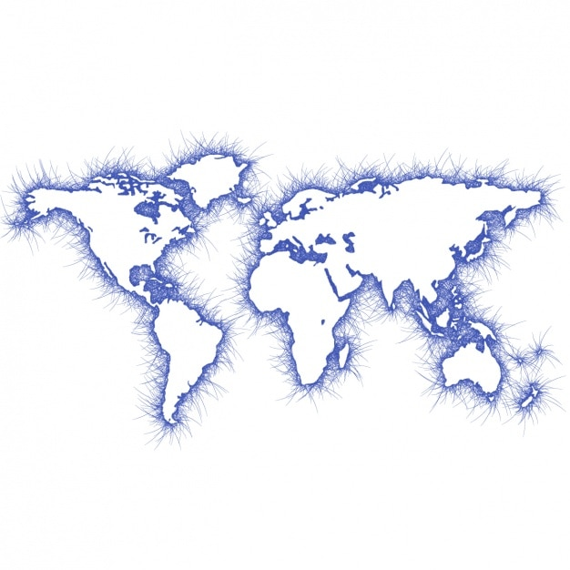 Blaue weltkarte design Kostenlosen Vektoren