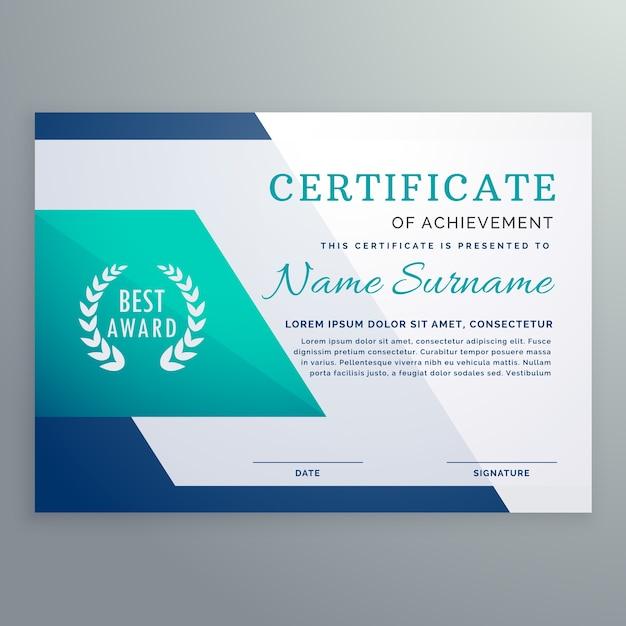 Blaue zertifikat design-vorlage in geometrischen form stil Kostenlosen Vektoren