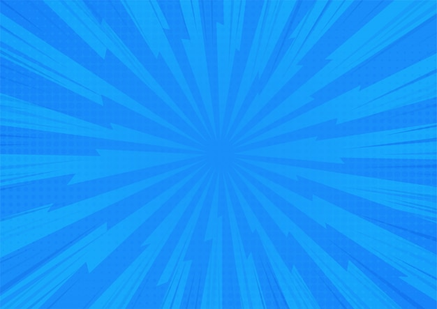 Blauer abstrakter komischer karikatur-sonnenlicht-hintergrund Premium Vektoren