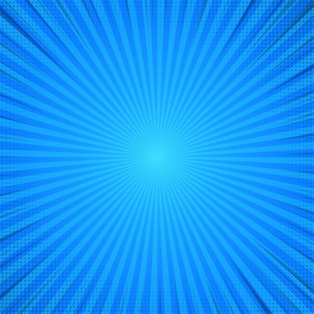 Blauer abstrakter komischer karikatur-sonnenlicht-hintergrund. Premium Vektoren
