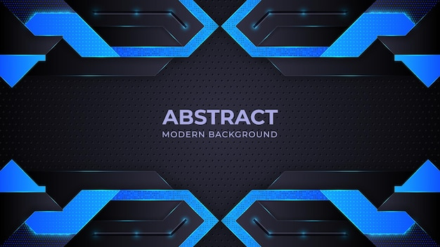 Blauer abstrakter moderner hintergrund mit geometrieformen Premium Vektoren