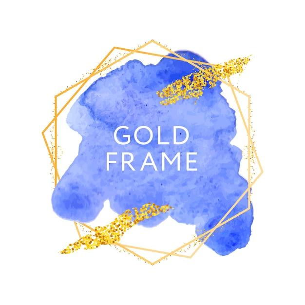 Blauer abstrakter stilvoller aquarellfleck und goldrahmen Premium Vektoren