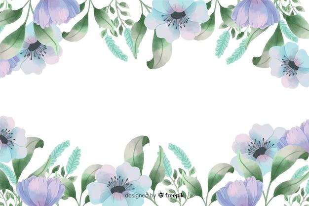 Blauer blumenrahmenhintergrund mit aquarelldesign Kostenlosen Vektoren