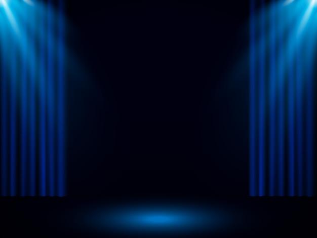 Blauer bühnenvorhang mit scheinwerfer Premium Vektoren
