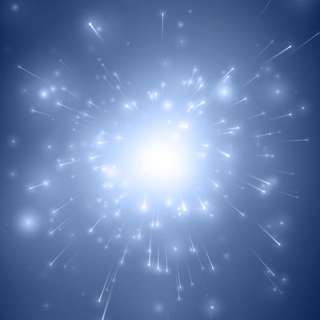 Blauer explosionshintergrund des abstrakten feuerwerks mit leuchtenden funken Kostenlosen Vektoren