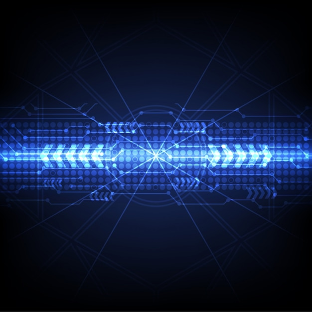 Blauer futuristischer digitaltechnikhintergrund Premium Vektoren