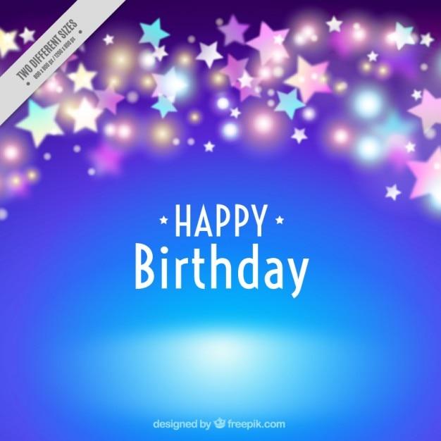 Blauer Geburtstag Hintergrund mit hellen Sternen | Download der kostenlosen Vektor