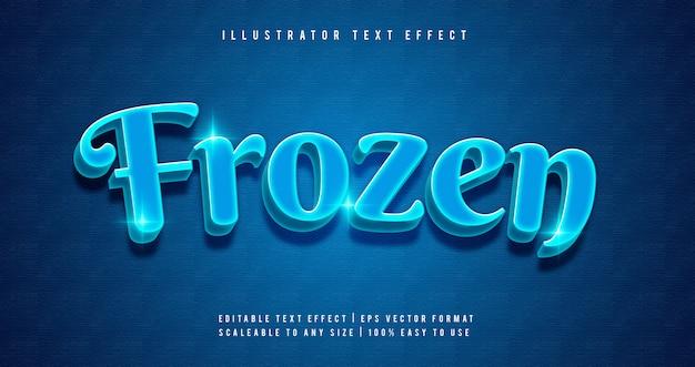 Blauer gefrorener leuchtender textart-schriftarteneffekt Premium Vektoren