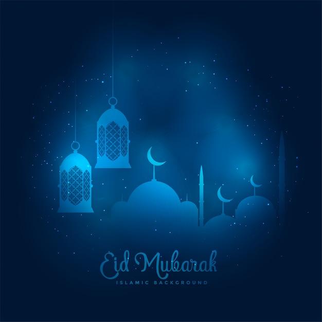 Blauer glühender eid mubarak moschee- und laternenhintergrund Kostenlosen Vektoren