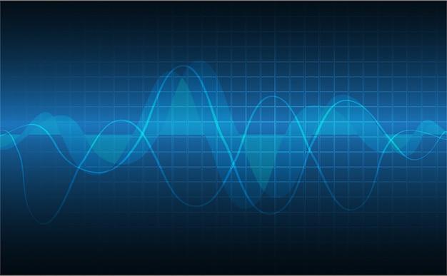 Blauer herzimpulsmonitor mit signal Premium Vektoren