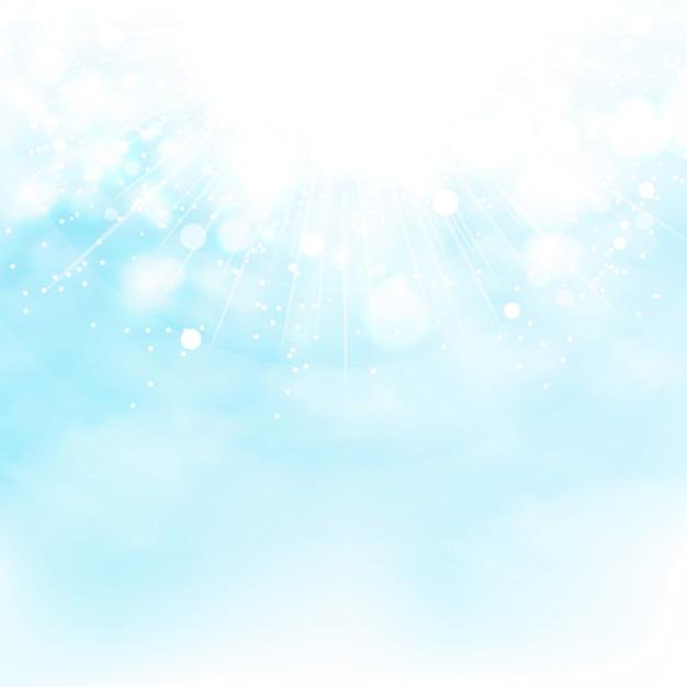 Blauer himmel der sonne sprengte dekorationssommerhintergrund Premium Vektoren