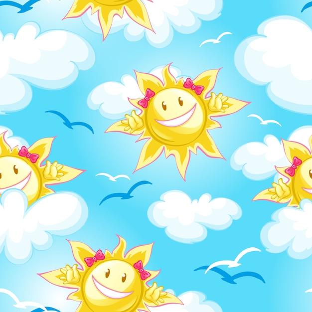 Blauer himmel des sommermusters, wolken und karikatursonne Premium Vektoren