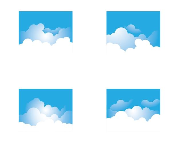 Blauer himmel mit wolkenikonen-illustrationsdesign Premium Vektoren
