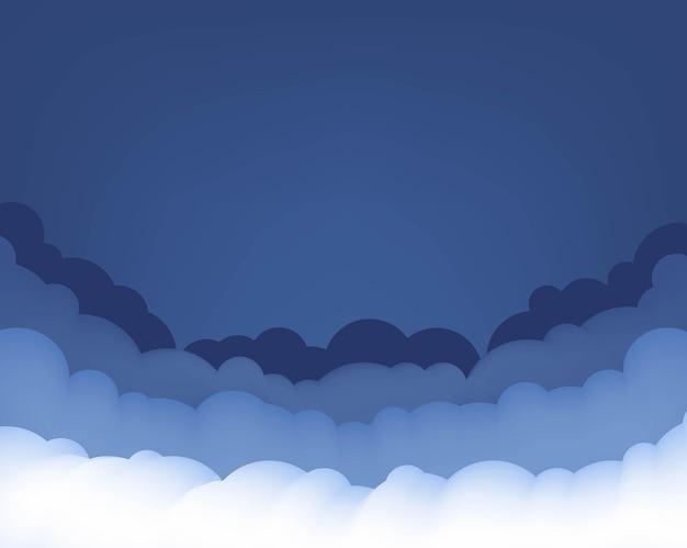 Blauer hintergrund der blauen und weißen wolken Premium Vektoren