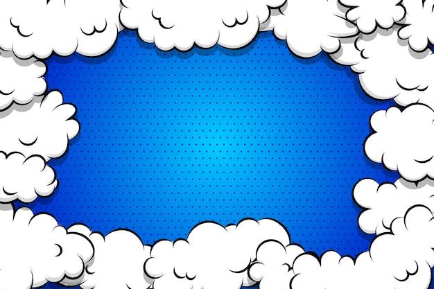 Blauer hintergrund der karikatur-blätterteigwolke für textschablone Premium Vektoren