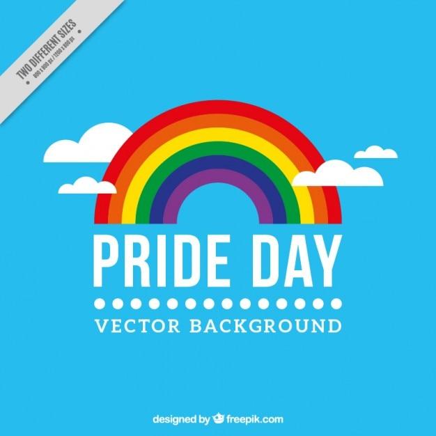 Blauer hintergrund der stolz tag mit einem regenbogen Kostenlosen Vektoren