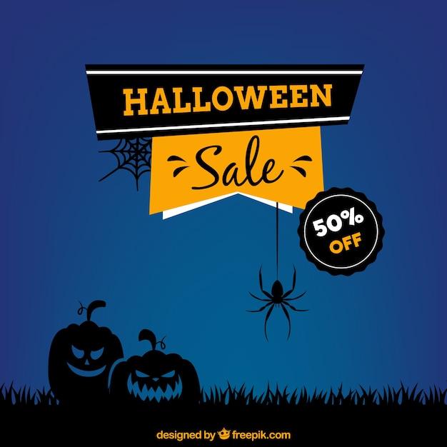 Blauer Hintergrund der Verkäufe halloween Kostenlose Vektoren