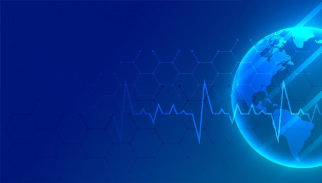 Blauer hintergrund der weltmedizin und des gesundheitswesens mit textraum Kostenlosen Vektoren